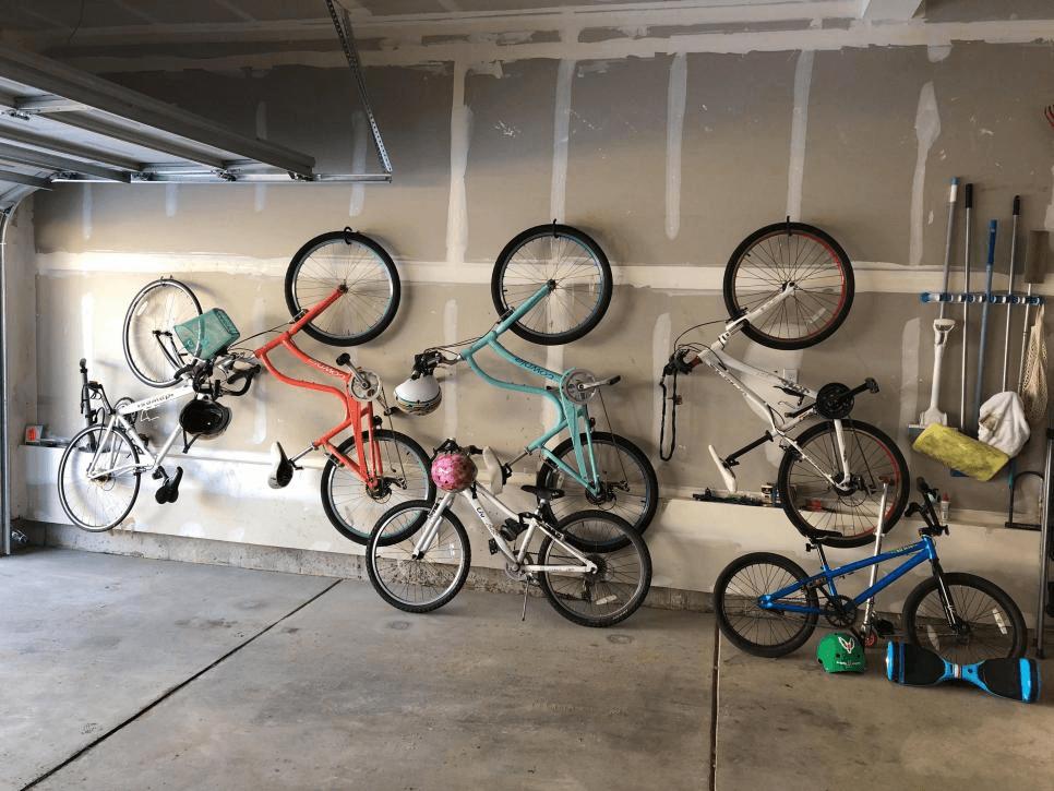 HOOK BIKE UP GARAGE STORAGE IDEAS