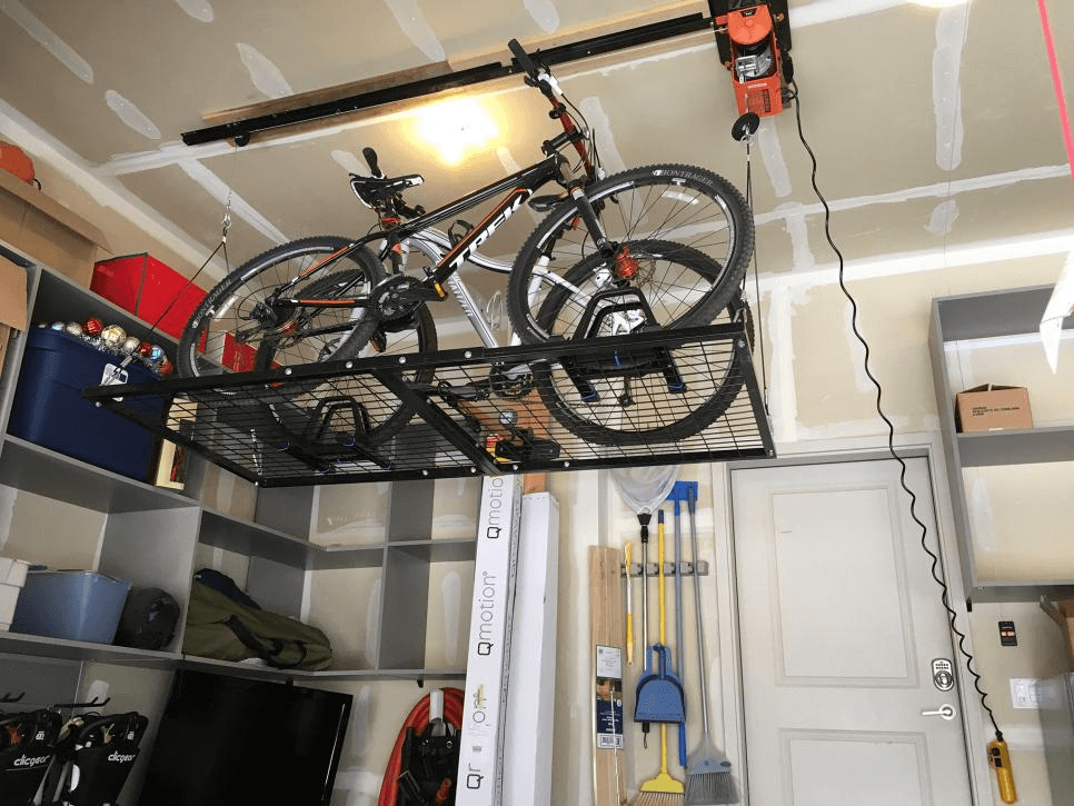 KATE PUGH ELECTRIC BIKE LIFT GARAGE STORAGE IDEAS