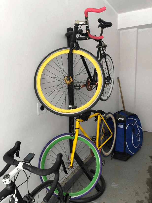 MOVEABLE CI BRE PATTERSON GRAVITY BIKE RACK GARAGE STORAGE DESIGN IDEAS