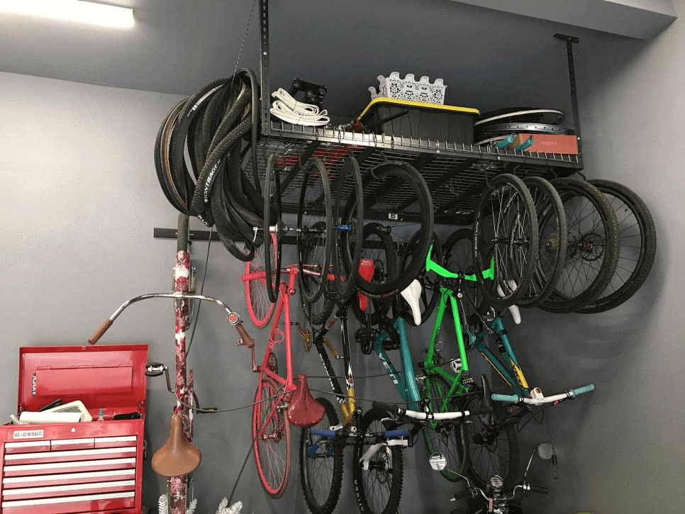 VERTICAL HOOKS GARAGE BIKE STORAGE IDEAS