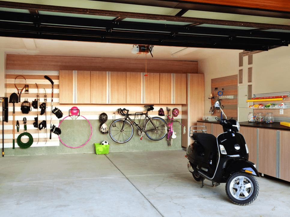 BIKE STORAGE GARAGE WALL DECOR IDEAS