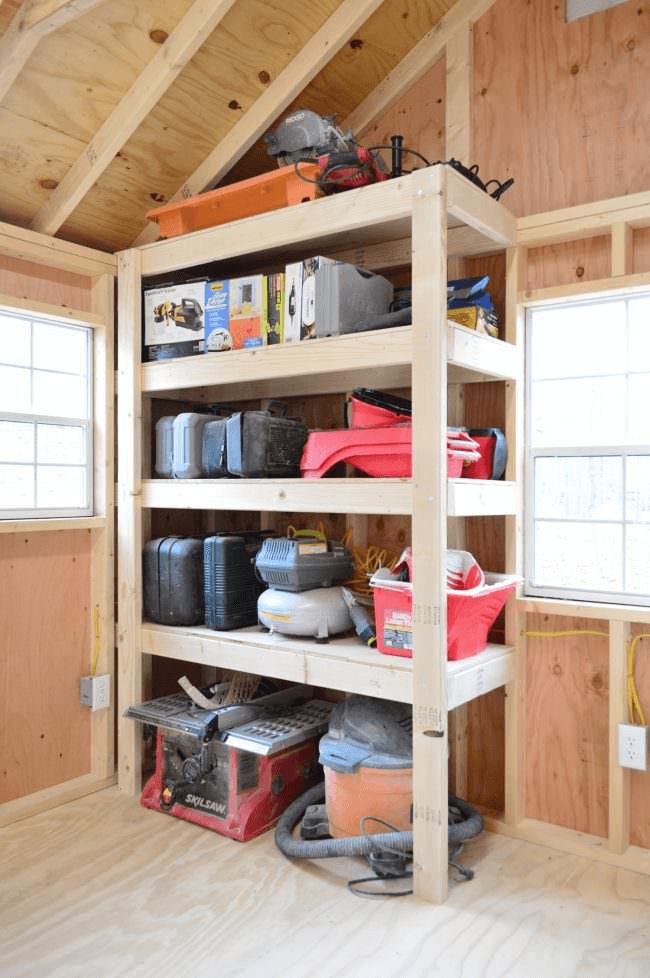 DIY WOODEN GARAGE SHELVES ORGANIZATION DESIGN IDEAS