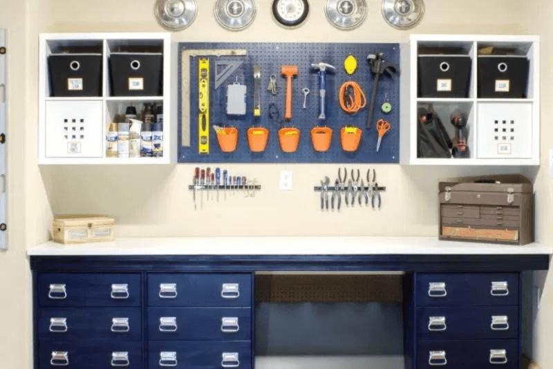 GARAGE WALL IDEAS DIY WORKSHOP AREA