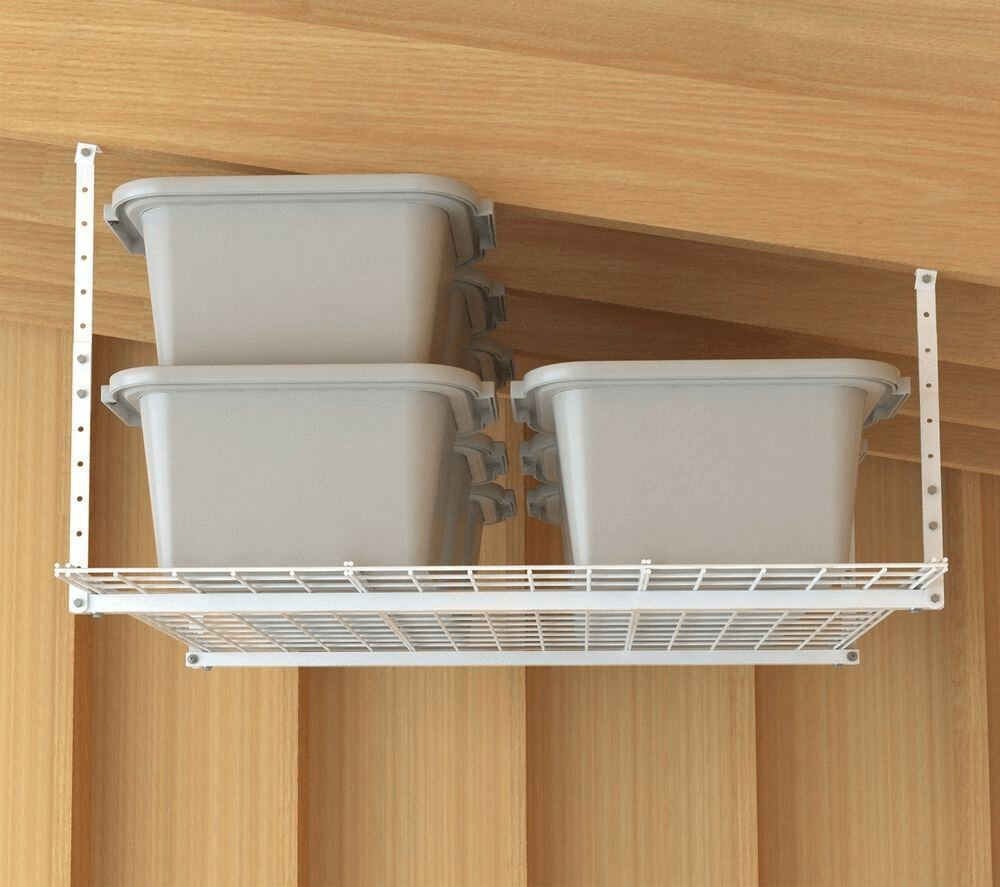OVERHEAD STORAGE SHELVES FOR GARAGE MAKEOVER IDEAS