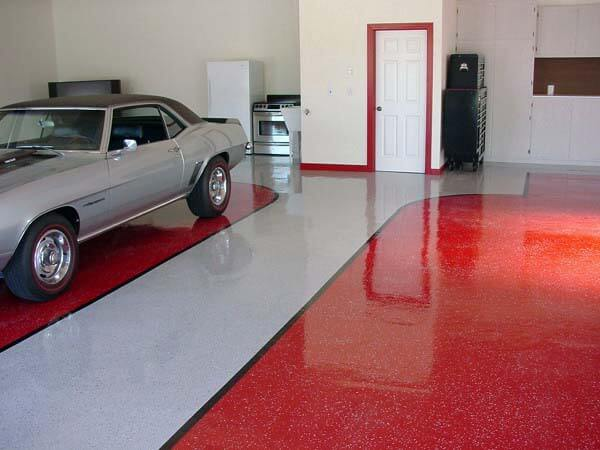 AWESOME RED AND GREY GARAGE EPOXY FLOORING IDEAS