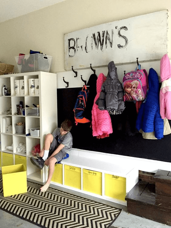 BENCH SEATING MUDROOM GARAGE STORAGE IDEAS