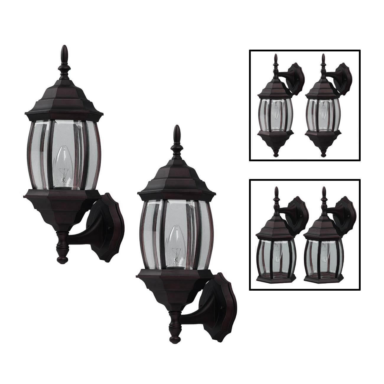 OUTDOOR EXTERIOR LANTERN LIGHT FIXTURE WALL SCONCE TWIN PACK FOR GARAGE LIGHTING IDEAS