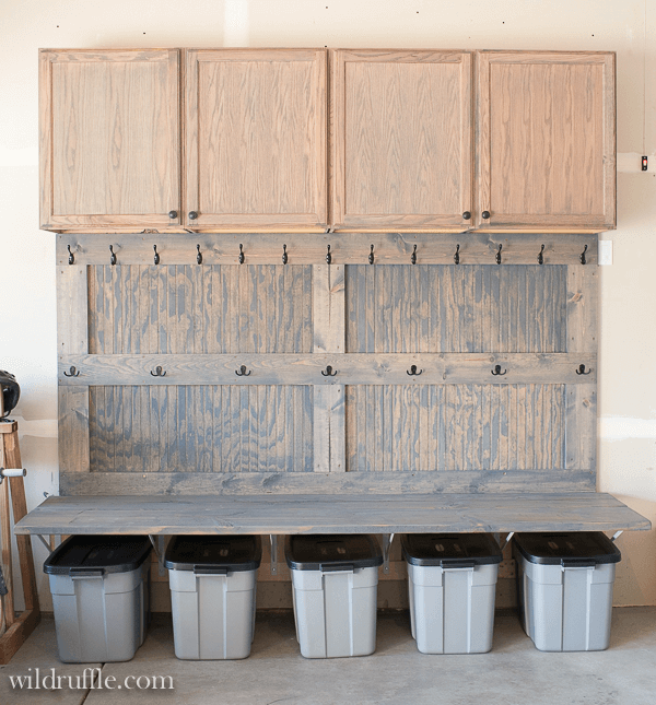 WOODEN MUDROOM GARAGE STORAGE IDEAS