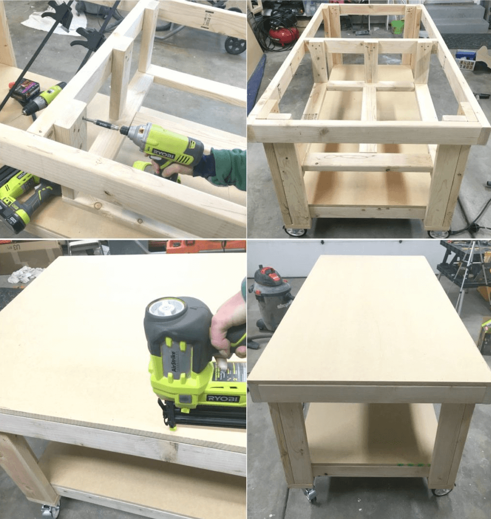 ASSEMBLE BOARD AND MIDDLE SHELF GARAGE WORKBENCH