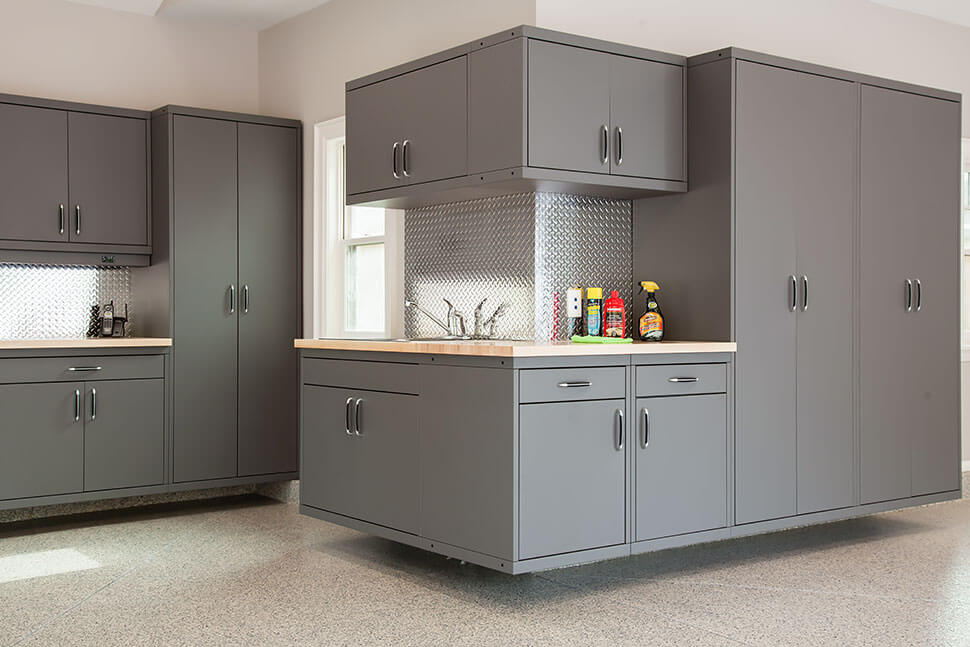FLOATING WITH COUNTERTOP GARAGE STORAGE CABINET DESIGN IDEAS