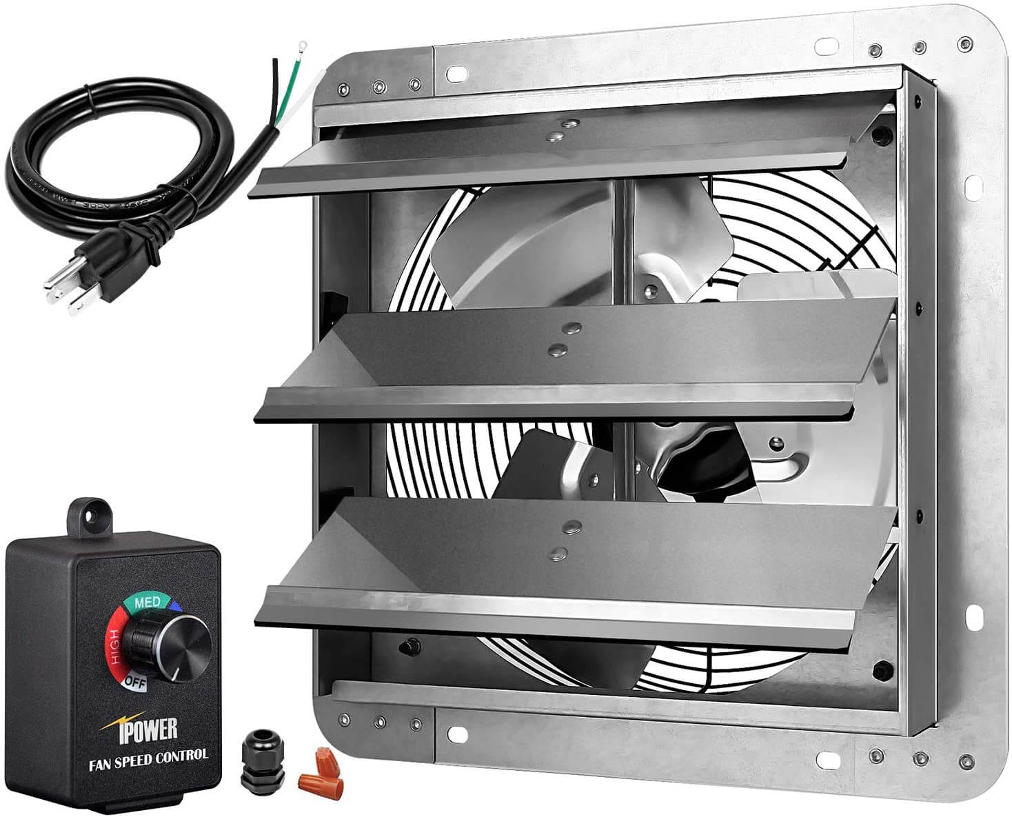 HIFANXEXHAUST12CTB 12 inch Variable Shutter Exhaust Fan for Garage by iPower