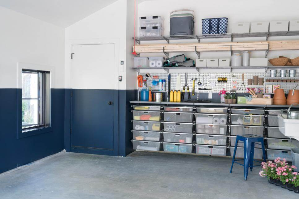 OPEN AND SLIDING SHELVING GARAGE STORAGE CABINET IDEAS