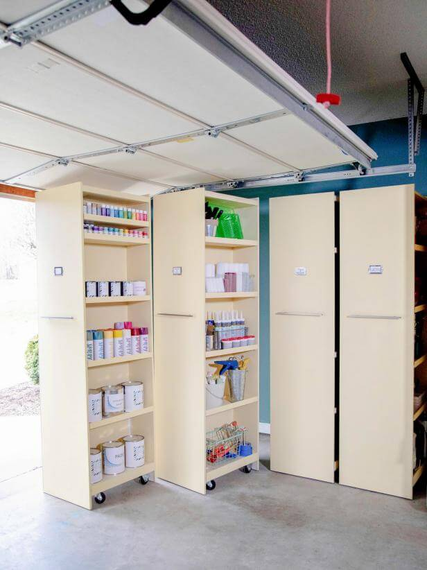 ROLLING SHELVES GARAGE STORAGE CABINET IDEAS