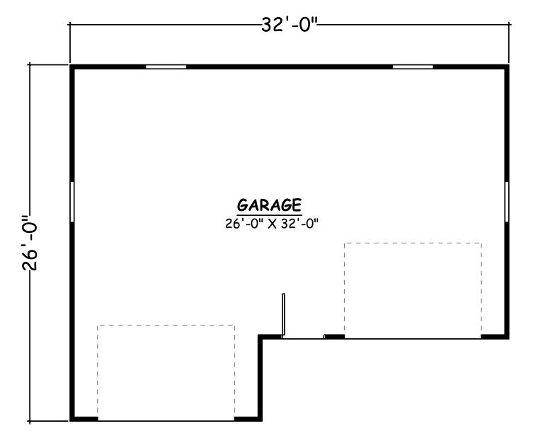 A GARAGE FLOOR PLANS WITH THREE ACCESS DOOR