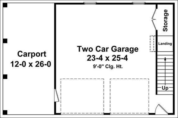 GARAGE CARPORT AND AN UPPER FLOOR PLANS