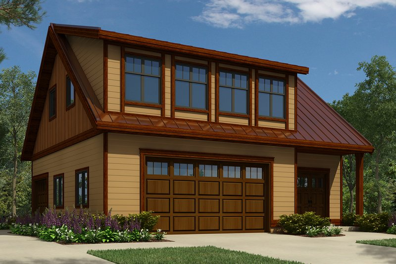 THREE CARS GARAGE DESIGN PLANS WITH A SMALL COTTAGE