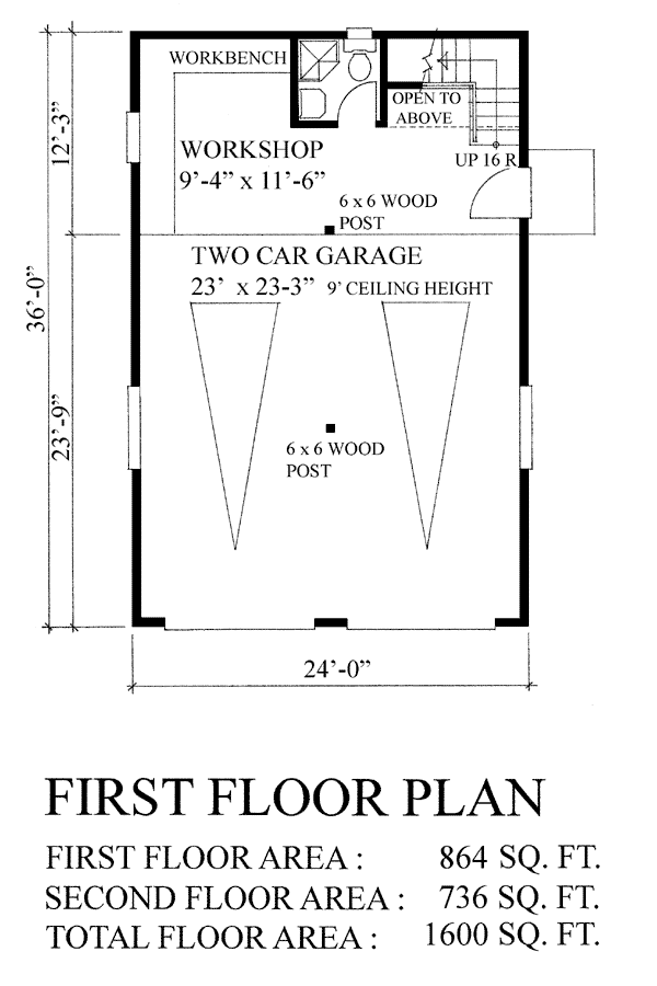 TWO CAR GARAGE AND AN UPPER FLOOR PLANS