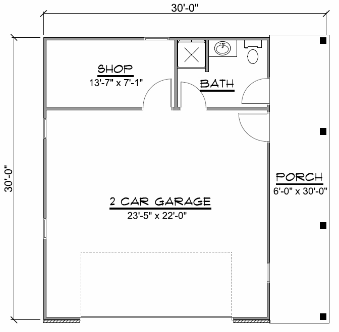 TWO CAR GARAGE FLOOR PLANS WITH A SHOP