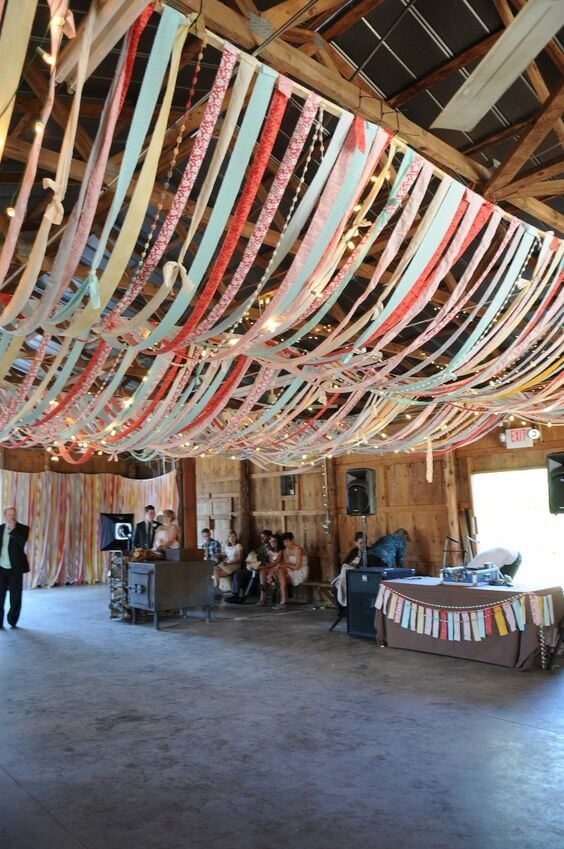 CEILING OF RIBBON GARAGE DECORATING IDEAS FOR PARTY