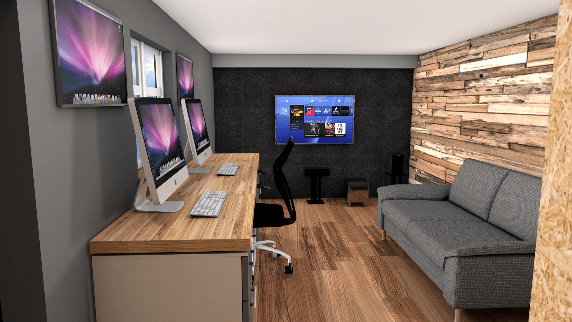 GARAGE MAKEOVER TO A MULTIMEDIA OFFICE