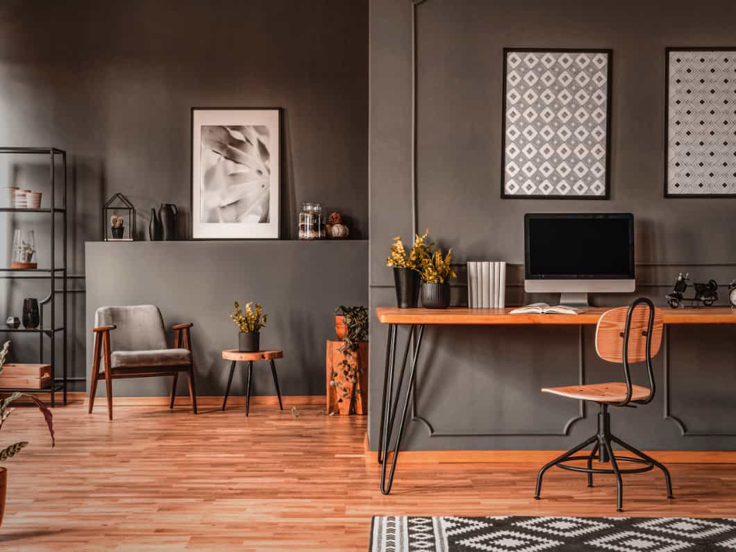 GARAGE MAKEOVER TO OFFICE RUSTIC INDUSTRIAL STYLE
