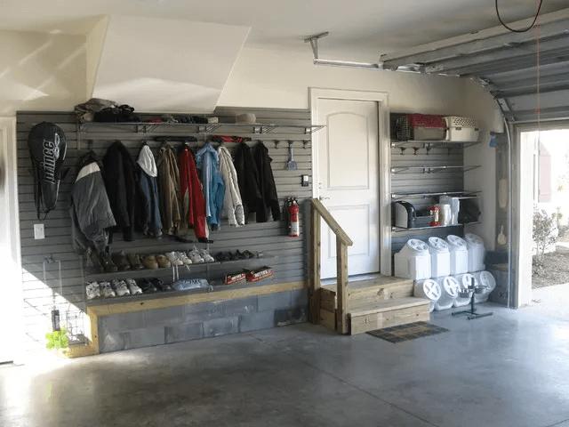 GARAGE SHOE ORGANIZATION IDEAS WITH HANDY SLATWALL