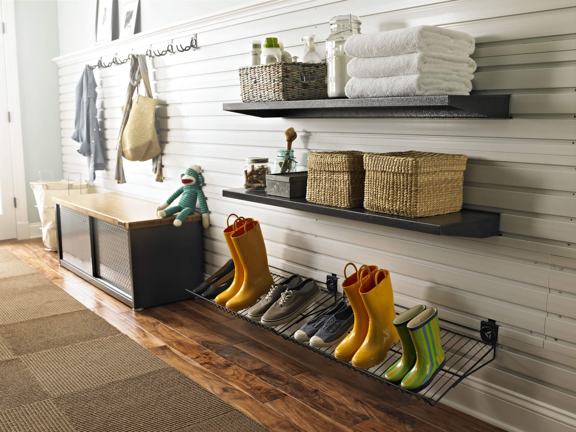 GARAGE SHOE ORGANIZATION IDEAS WITH LEANING WIRE RACK