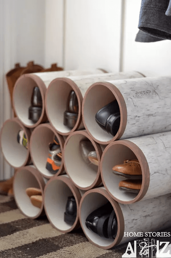 GARAGE SHOE ORGANIZATION IDEAS WITH PVC SHOE SHELVES