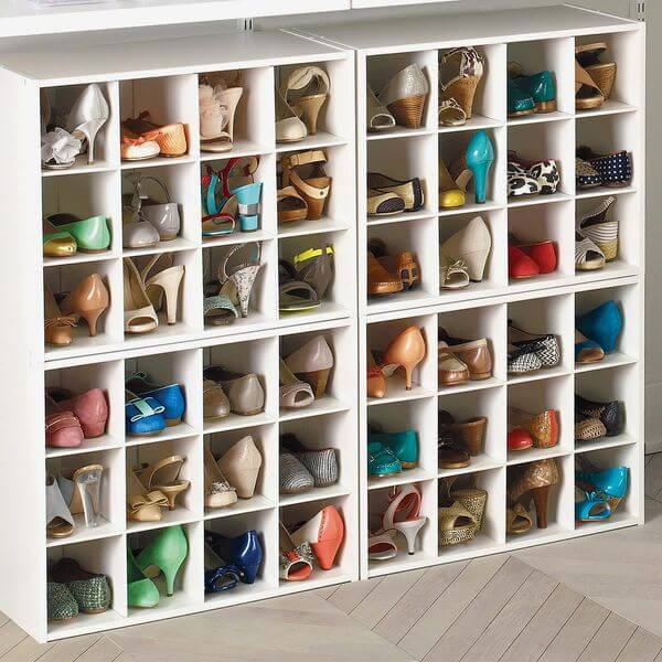 GARAGE SHOE ORGANIZATION IDEAS WITH SQUARE SHOE CUBBY