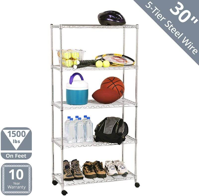 STEEL WIRE SHELVING WITH WHEEL GARAGE STORAGE SYSTEMS