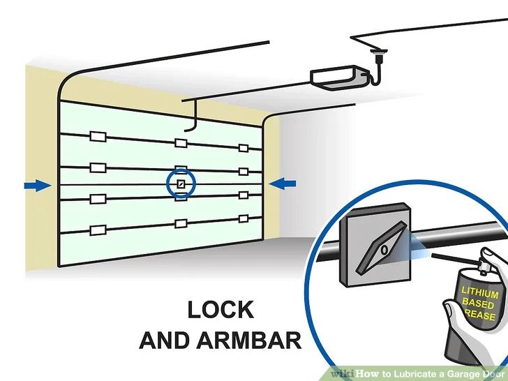 LUBRICATE GARAGE DOOR STEP 9 SPRAY ARM BAR AND LOCK