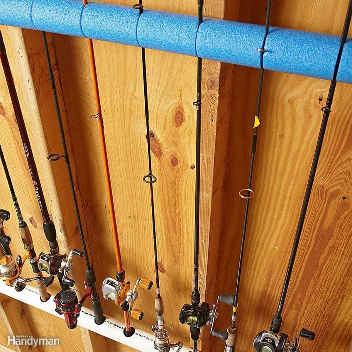 ORGANIZE FISHING RODS IN 2 CAR GARAGE IDEAS