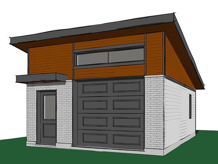 GARAGE APARTMENT PLANS WITH SLOPED ROOF