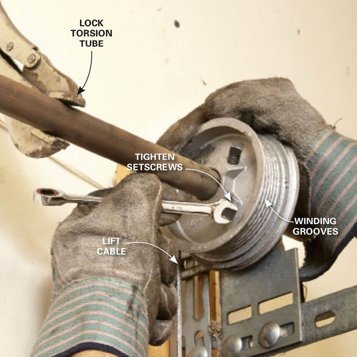 INSERTING CABLES AND TIGHTENING DRUMS TO INSTALL GARAGE DOOR SPRING
