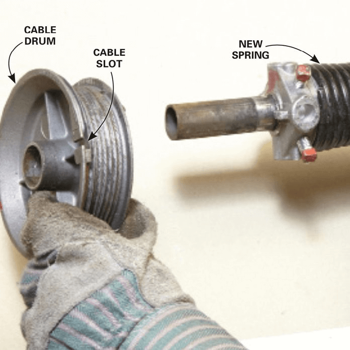 HOW TO REPLACE GARAGE DOOR SIDE SPRINGS. INSTALL THE NEW SPRING. REASSEMBLE