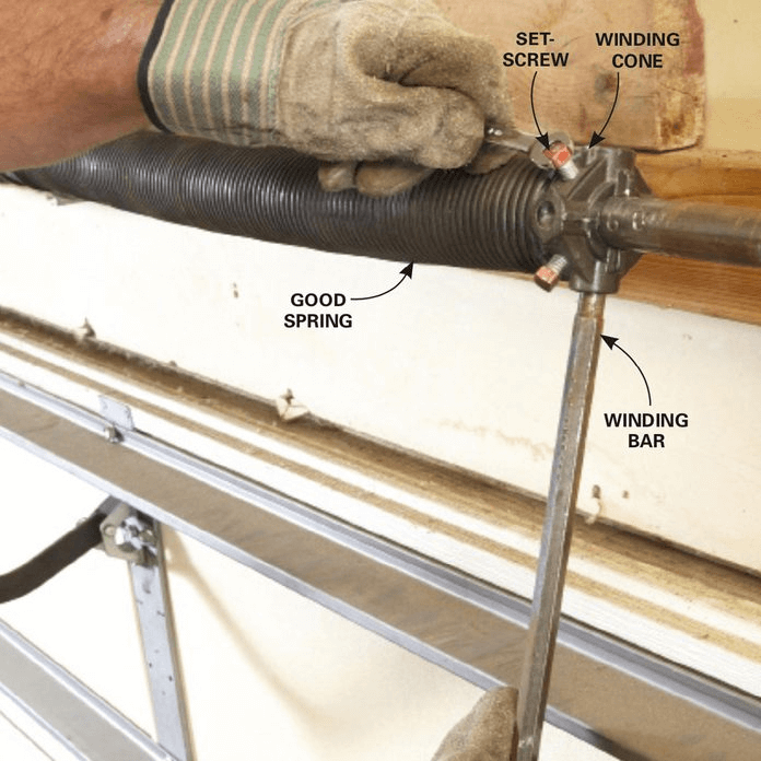 HOW TO REPLACE GARAGE DOOR SIDE SPRINGS. LOOSEN UP THE SPRING. BAR