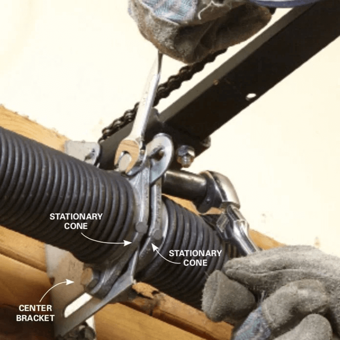 HOW TO REPLACE GARAGE DOOR SIDE SPRINGS. LOOSEN UP THE SPRING. BOLTS