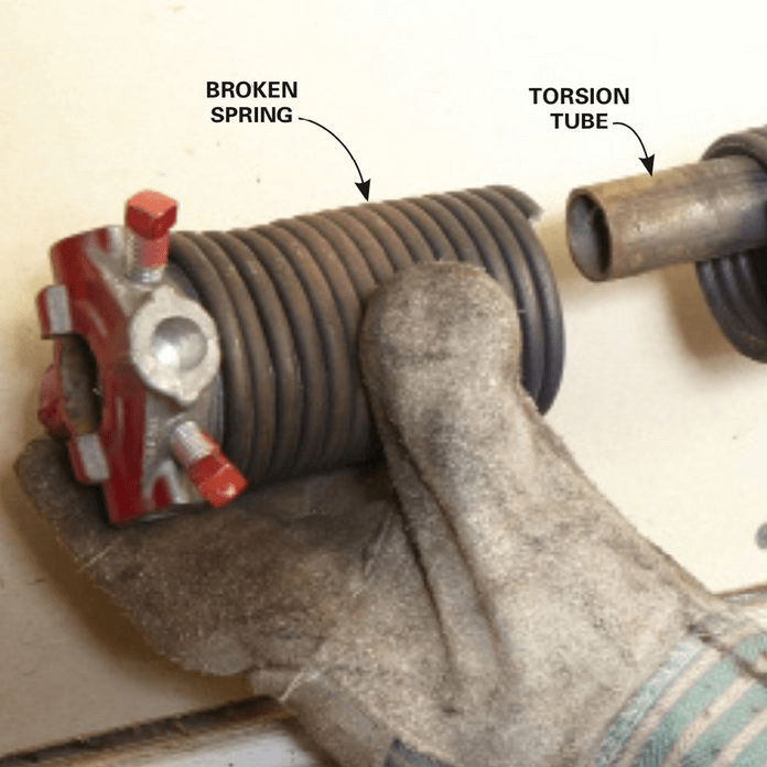 HOW TO REPLACE GARAGE DOOR SIDE SPRINGS. REMOVE THE BROKEN SPRING. TUBE