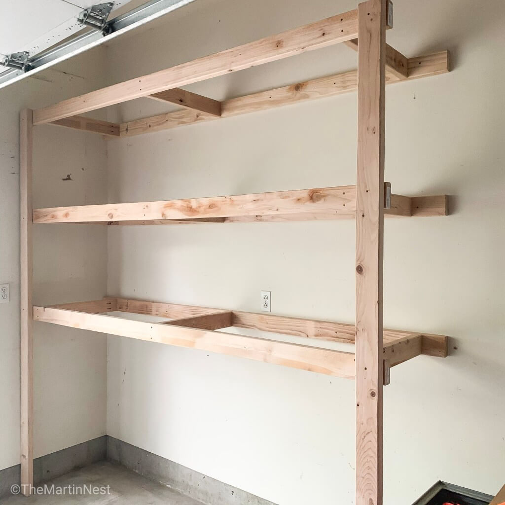 HOW TO BUILD WALL MOUNTED GARAGE SHELVES. 5. ADD CLEATS FOR MAXIMUM WEIGHT SUPPORT
