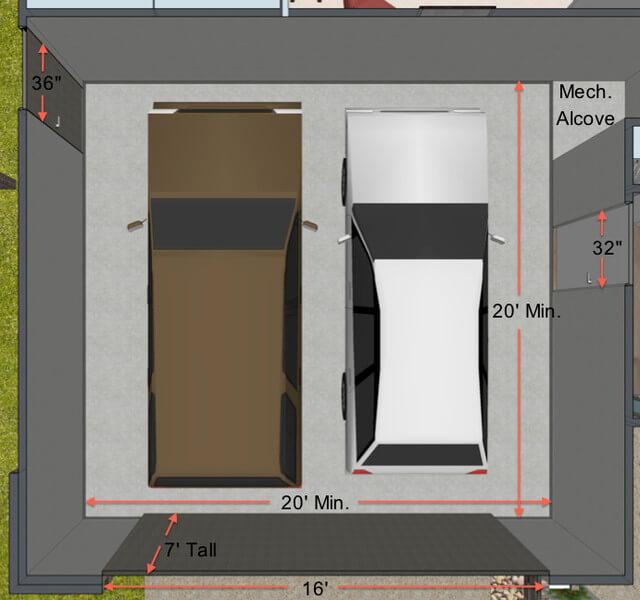 THE MINIMUM 2 CAR GARAGE SIZE. CONTEMPORARY FLOOR PLAN