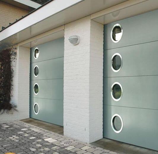 MID CENTURY MODERN GARAGE DESIGN IDEAS ROUND GLASS WINDOWS ON THE DOOR