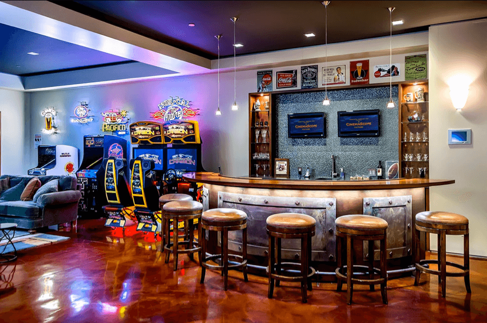 BAR TABLE AND STOOLS GARAGE MAN CAVE FURNITURE IDEAS