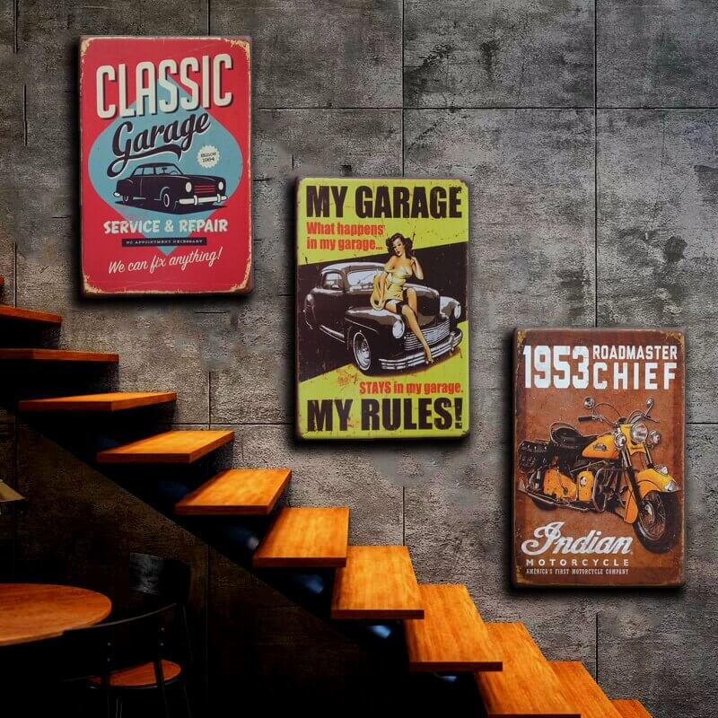 CAR GARAGE DECORATING IDEAS WITH VINTAGE POSTERS