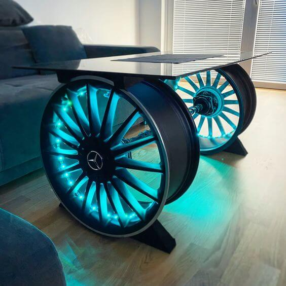 CAR GARAGE DECORATING IDEAS WITH WHEEL COFFEE TABLE