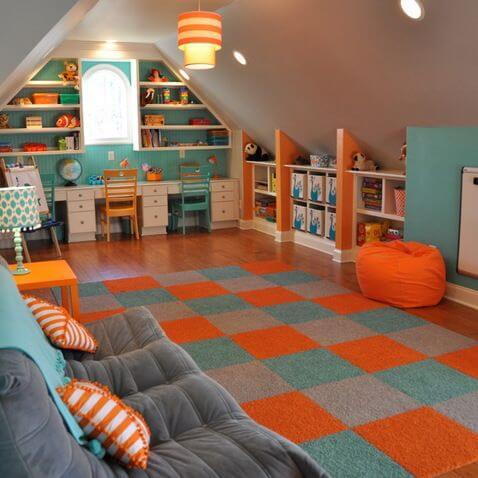KIDS PLAYROOM IN THE BONUS ROOMS ABOVE GARAGE