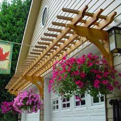 OUTSIDE GARAGE DECORATING IDEAS WITH AWNING