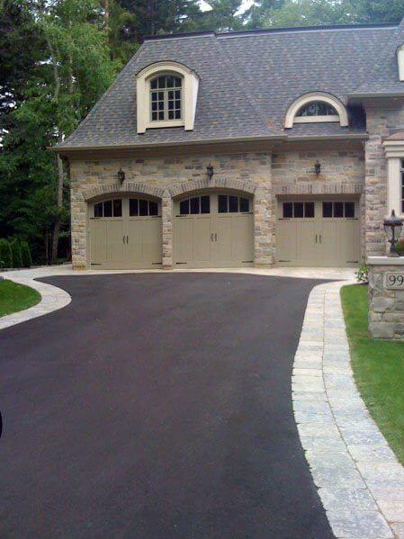 OUTSIDE GARAGE DECORATING IDEAS WITH CLEAN BOARDED DRIVEWAY
